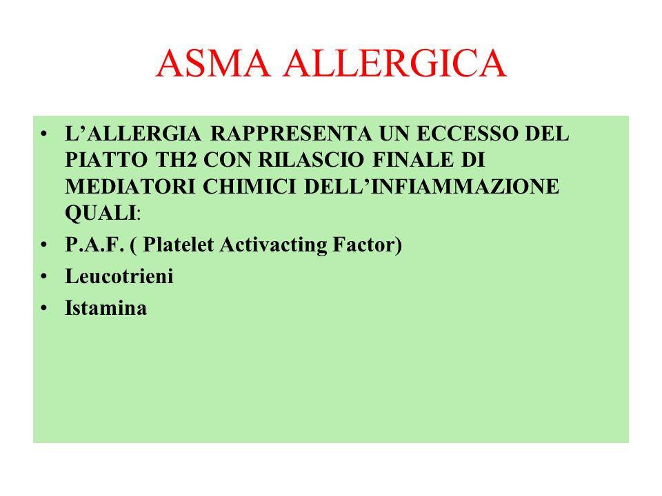 ASMA ALLERGICA L'ALLERGIA RAPPRESENTA UN ECCESSO DEL PIATTO TH2 CON RILASCIO FINALE DI MEDIATORI CHIMICI DELL'INFIAMMAZIONE QUALI: