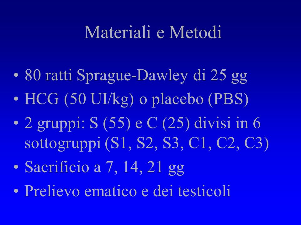 Materiali e Metodi 80 ratti Sprague-Dawley di 25 gg