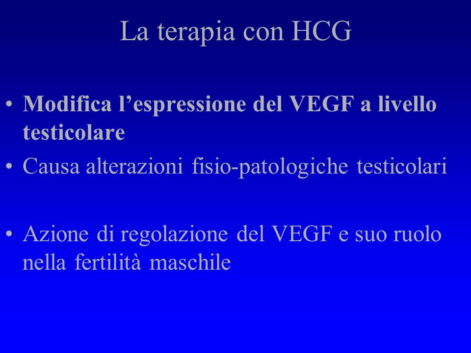 La terapia con HCG Modifica l'espressione del VEGF a livello testicolare. Causa alterazioni fisio-patologiche testicolari.