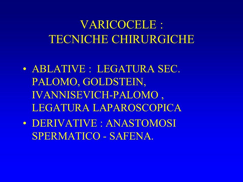 VARICOCELE : TECNICHE CHIRURGICHE