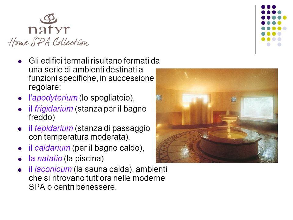 Gli edifici termali risultano formati da una serie di ambienti destinati a funzioni specifiche, in successione regolare: