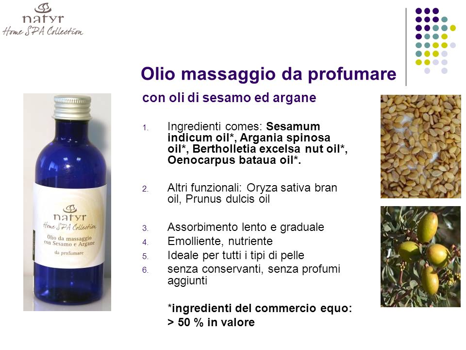 Olio massaggio da profumare