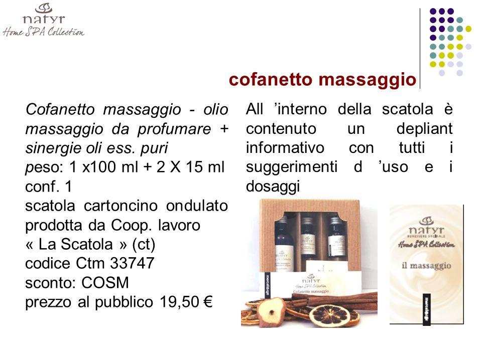 cofanetto massaggio Cofanetto massaggio - olio massaggio da profumare + sinergie oli ess. puri. peso: 1 x100 ml + 2 X 15 ml.