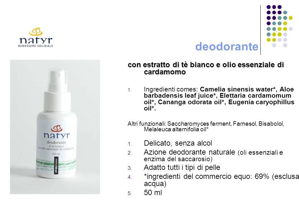 deodorante con estratto di tè bianco e olio essenziale di cardamomo