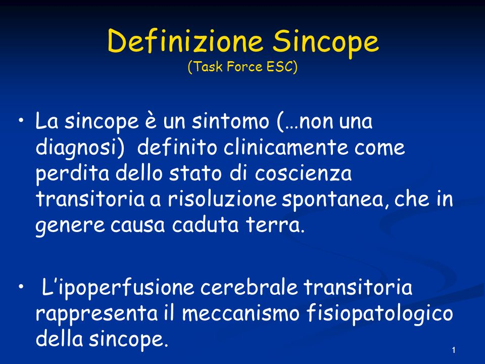 Definizione Sincope (Task Force ESC)‏
