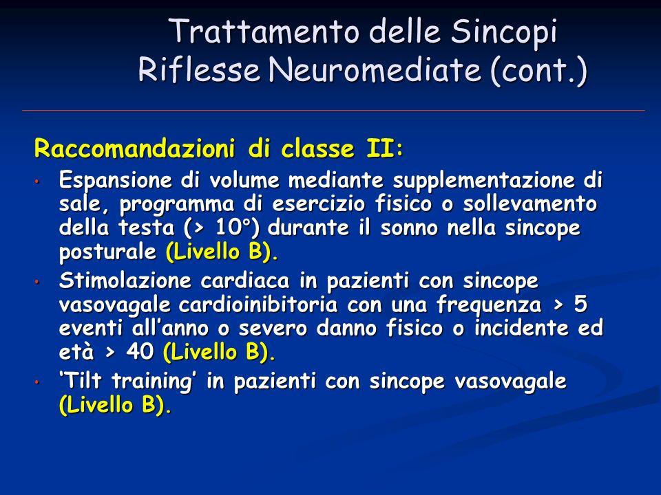 Trattamento delle Sincopi Riflesse Neuromediate (cont.)