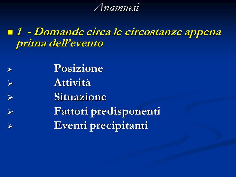 Anamnesi 1 - Domande circa le circostanze appena prima dell'evento