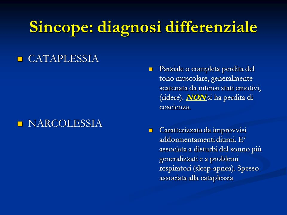 Sincope: diagnosi differenziale