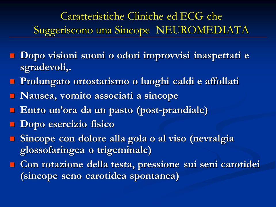 Caratteristiche Cliniche ed ECG che Suggeriscono una Sincope NEUROMEDIATA