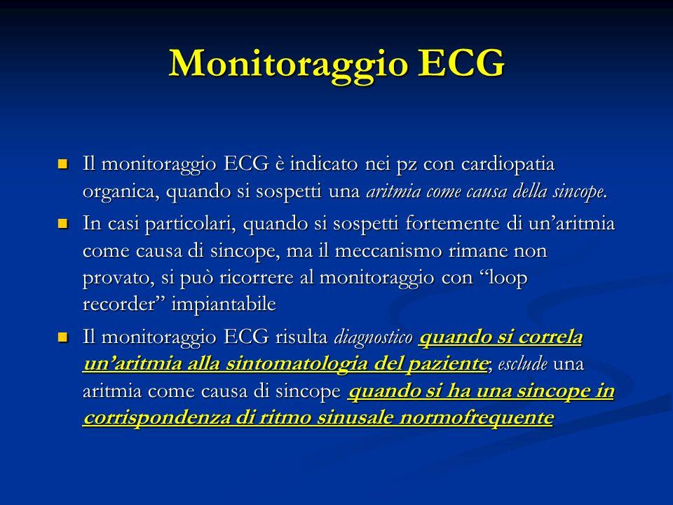 Monitoraggio ECG Il monitoraggio ECG è indicato nei pz con cardiopatia organica, quando si sospetti una aritmia come causa della sincope.
