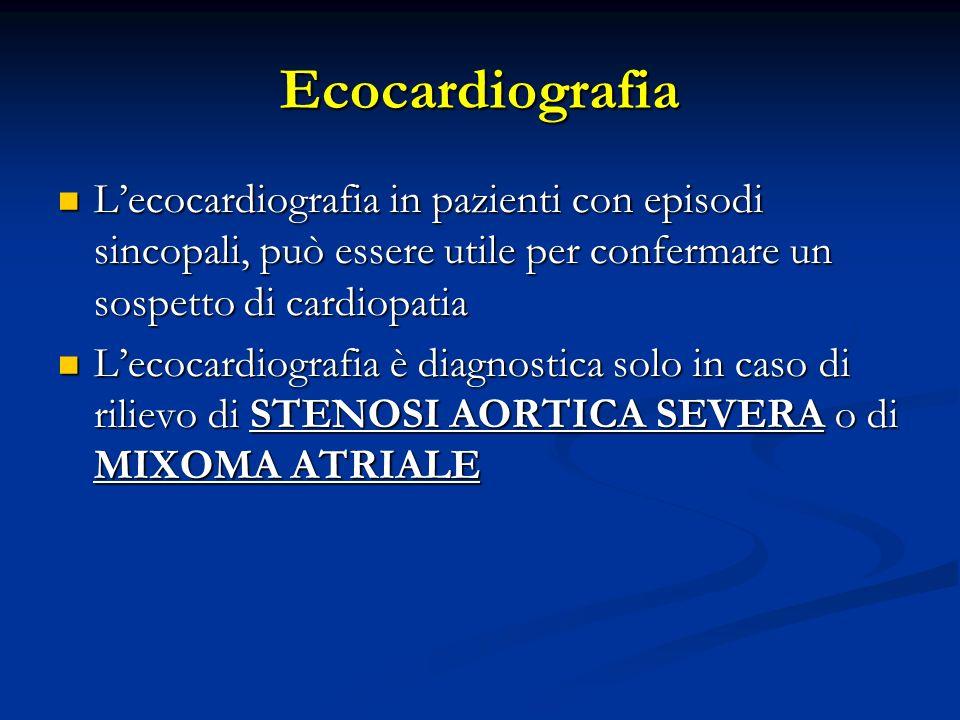Ecocardiografia L'ecocardiografia in pazienti con episodi sincopali, può essere utile per confermare un sospetto di cardiopatia.