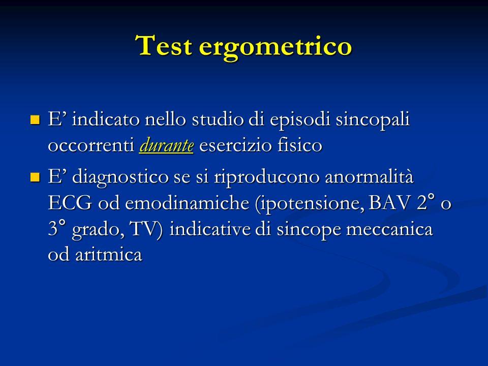 Test ergometrico E' indicato nello studio di episodi sincopali occorrenti durante esercizio fisico.