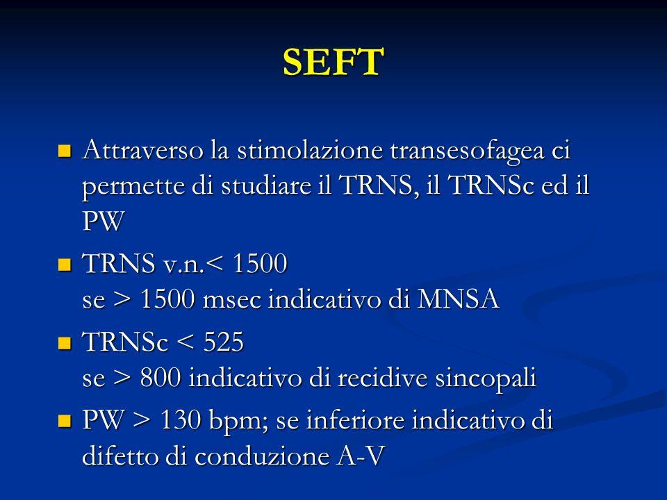 SEFT Attraverso la stimolazione transesofagea ci permette di studiare il TRNS, il TRNSc ed il PW.