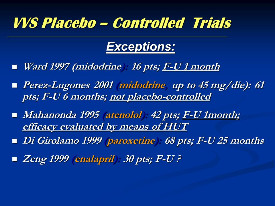 VVS Placebo – Controlled Trials