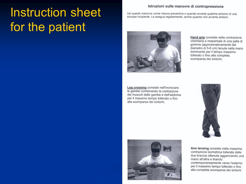 Instruction sheet for the patient
