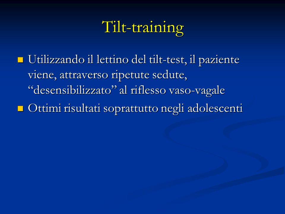 Tilt-training Utilizzando il lettino del tilt-test, il paziente viene, attraverso ripetute sedute, desensibilizzato al riflesso vaso-vagale.