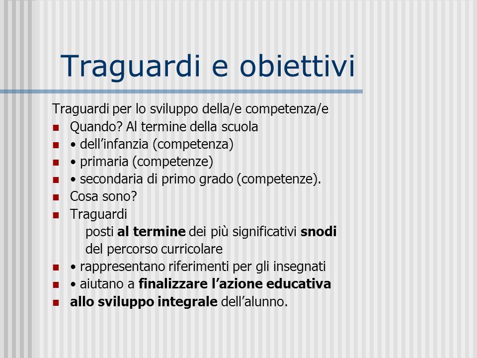 Traguardi e obiettivi Traguardi per lo sviluppo della/e competenza/e