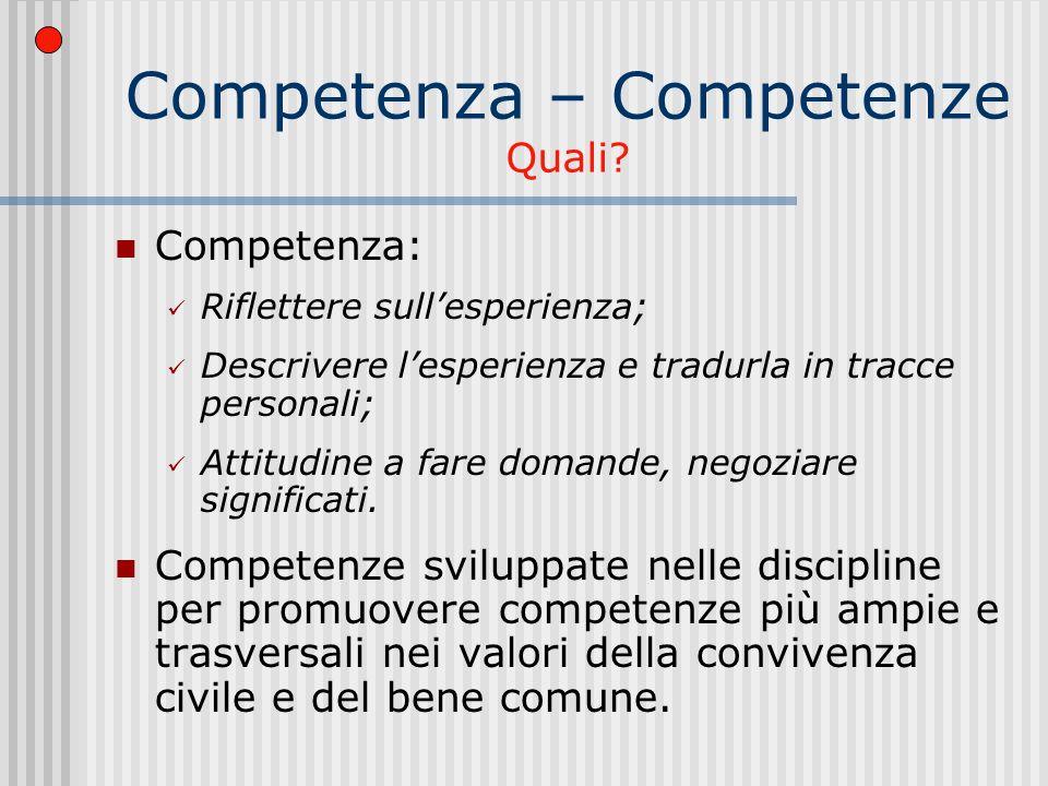 Competenza – Competenze Quali