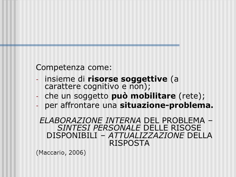 insieme di risorse soggettive (a carattere cognitivo e non);