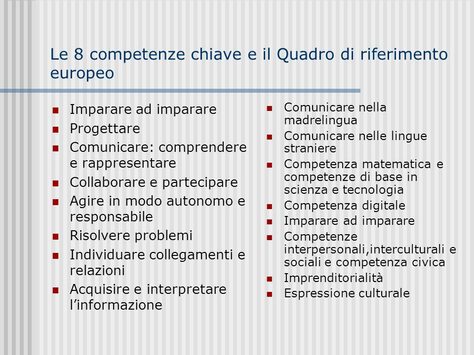 Le 8 competenze chiave e il Quadro di riferimento europeo