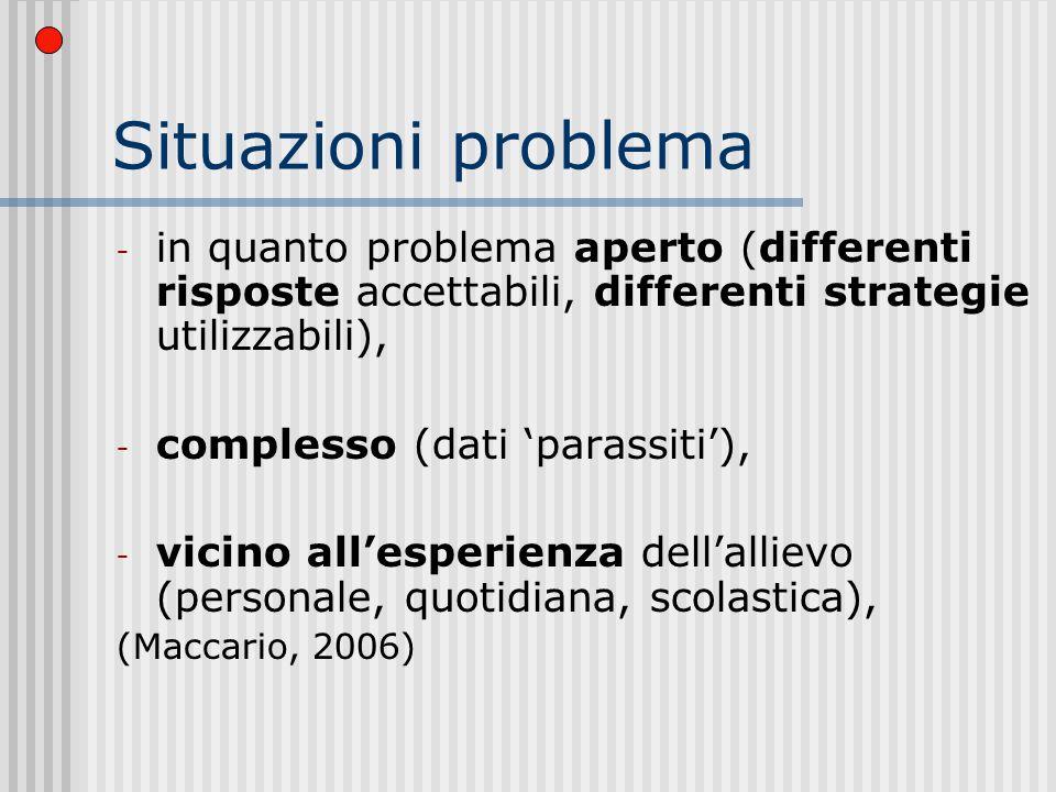 Situazioni problema in quanto problema aperto (differenti risposte accettabili, differenti strategie utilizzabili),