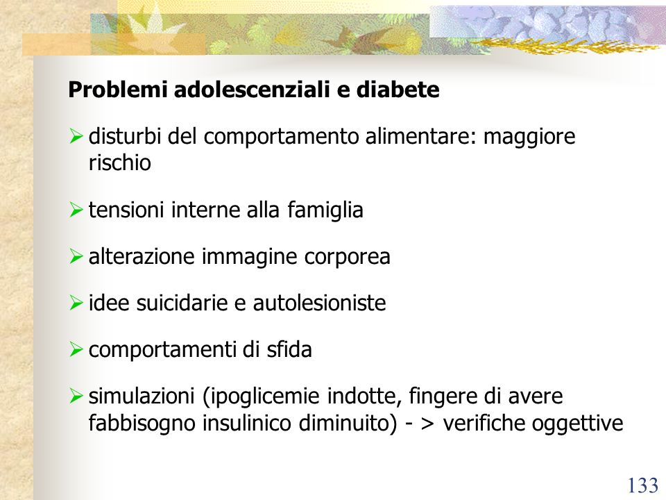 Problemi adolescenziali e diabete