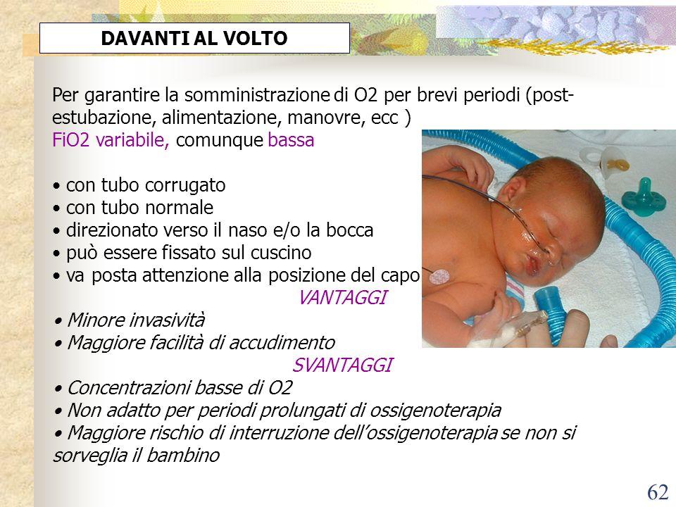 DAVANTI AL VOLTO Per garantire la somministrazione di O2 per brevi periodi (post-estubazione, alimentazione, manovre, ecc )
