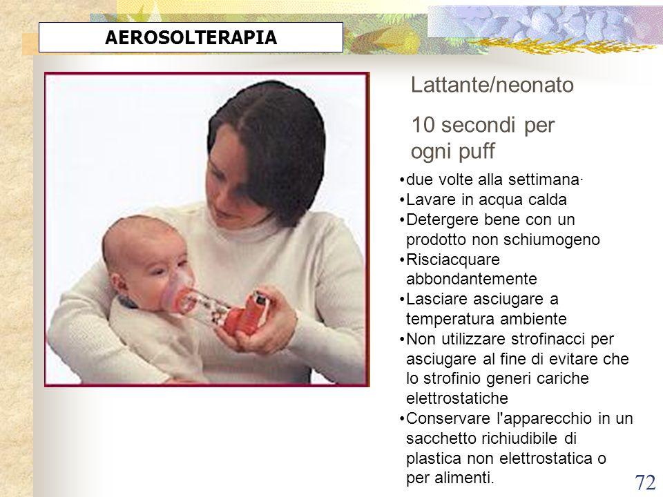 Lattante/neonato 10 secondi per ogni puff AEROSOLTERAPIA