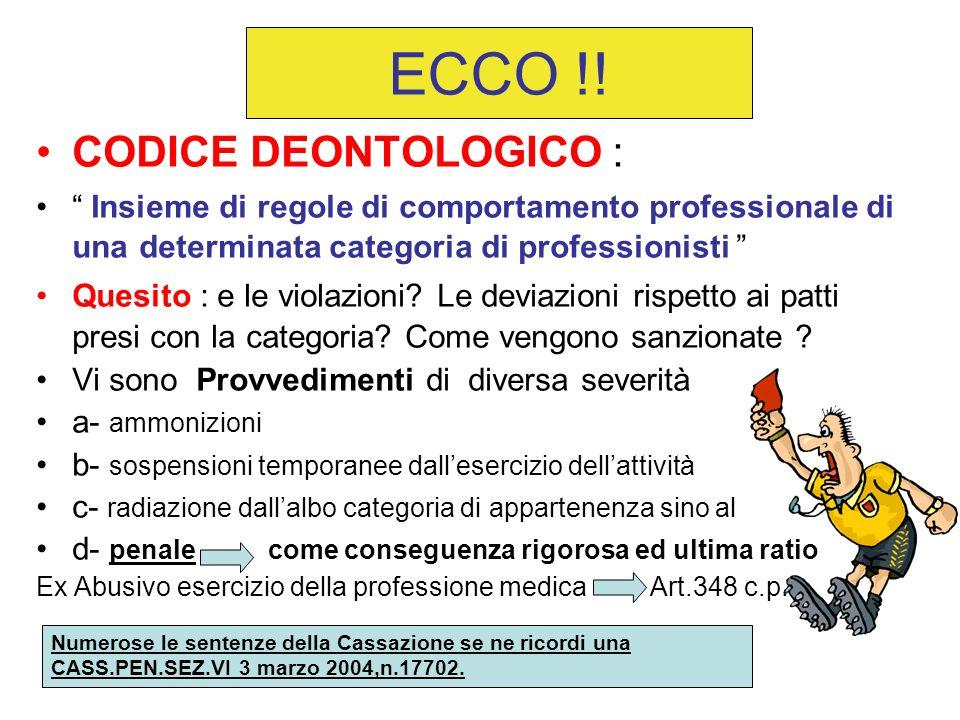 ECCO !! CODICE DEONTOLOGICO :