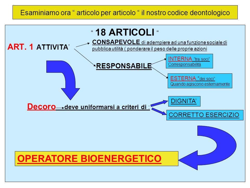 Esaminiamo ora articolo per articolo il nostro codice deontologico