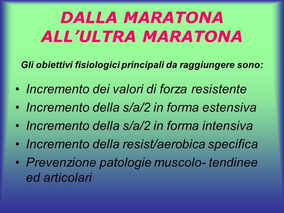 DALLA MARATONA ALL'ULTRA MARATONA