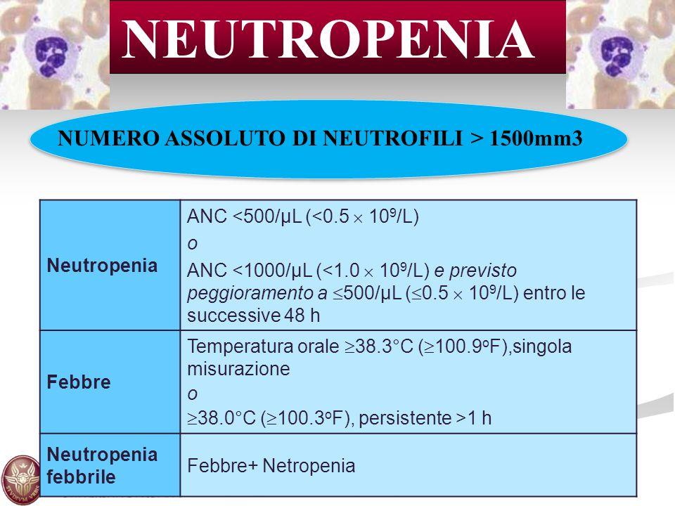 NEUTROPENIA NUMERO ASSOLUTO DI NEUTROFILI > 1500mm3 Neutropenia
