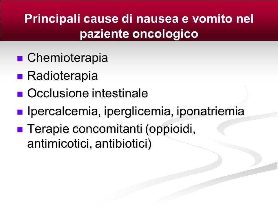 Principali cause di nausea e vomito nel paziente oncologico