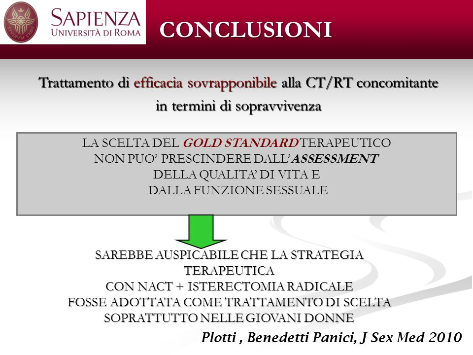 CONCLUSIONI Trattamento di efficacia sovrapponibile alla CT/RT concomitante. in termini di sopravvivenza.
