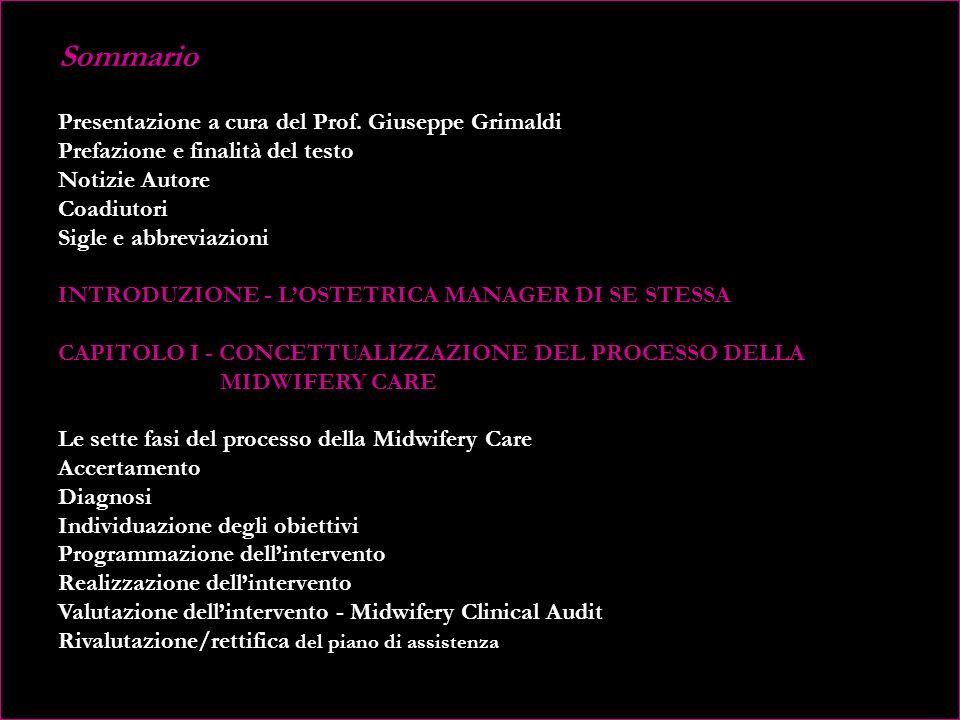 Sommario Presentazione a cura del Prof. Giuseppe Grimaldi