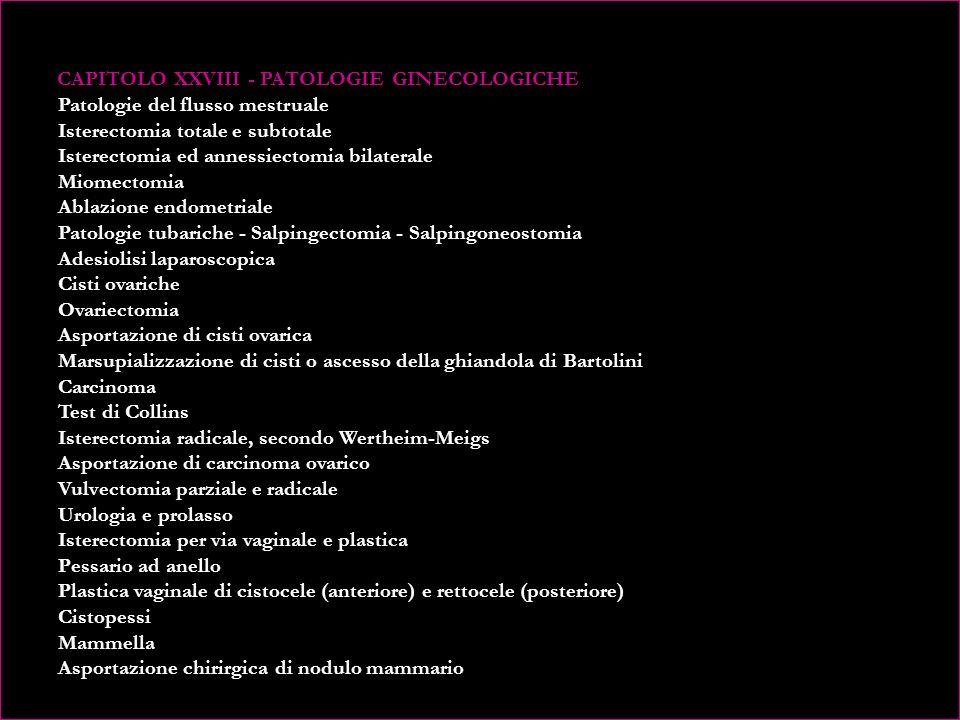 CAPITOLO XXVIII - PATOLOGIE GINECOLOGICHE