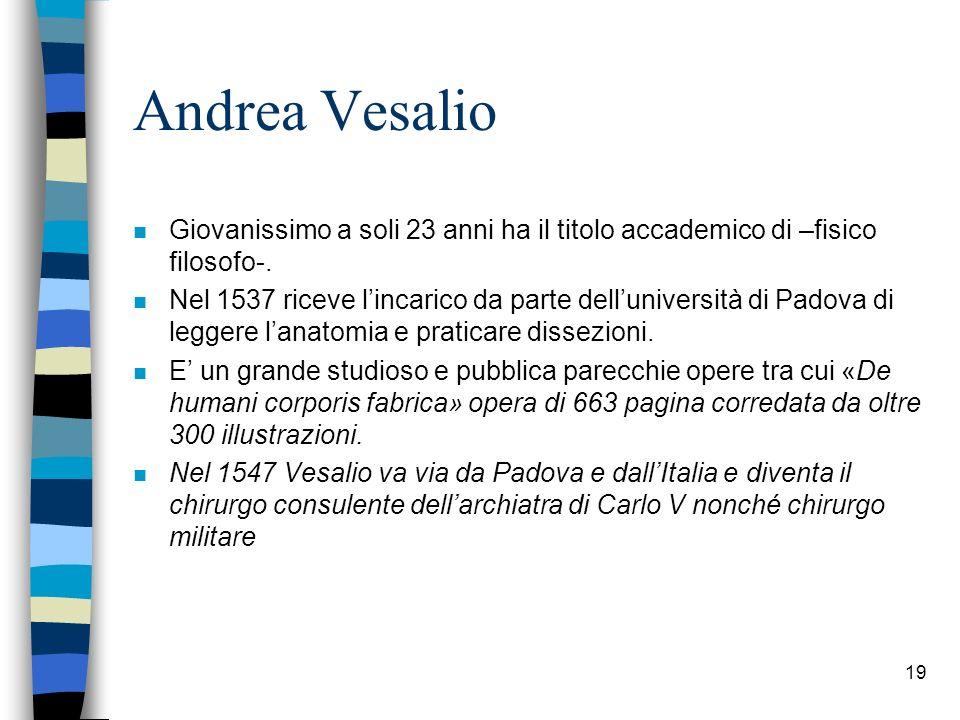 Andrea Vesalio Giovanissimo a soli 23 anni ha il titolo accademico di –fisico filosofo-.