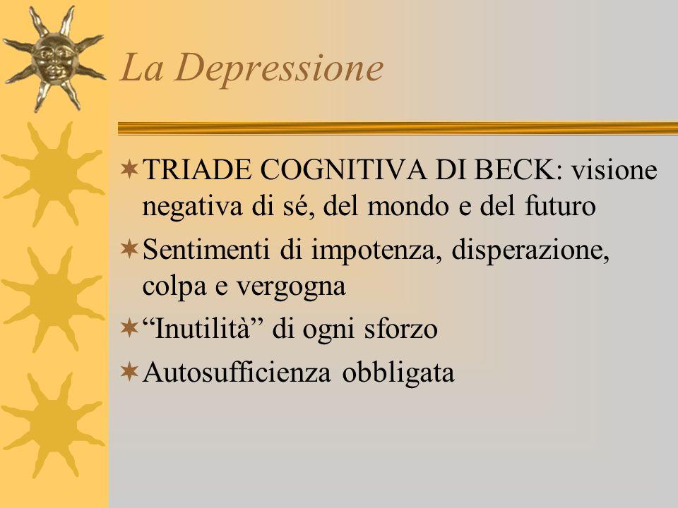 La Depressione TRIADE COGNITIVA DI BECK: visione negativa di sé, del mondo e del futuro. Sentimenti di impotenza, disperazione, colpa e vergogna.