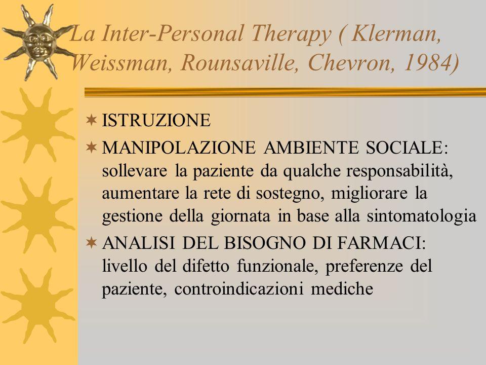 La Inter-Personal Therapy ( Klerman, Weissman, Rounsaville, Chevron, 1984)