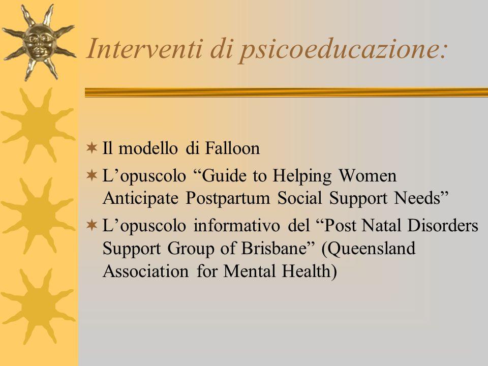 Interventi di psicoeducazione:
