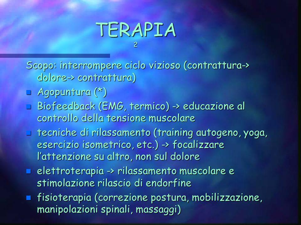 TERAPIA 2 Scopo: interrompere ciclo vizioso (contrattura-> dolore-> contrattura) Agopuntura (*)