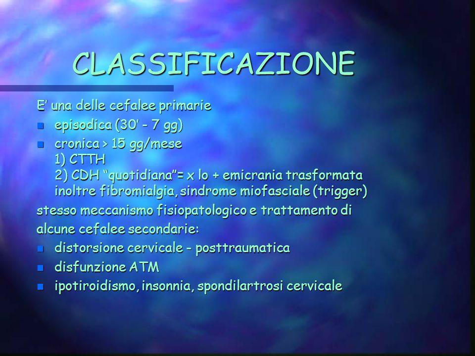 CLASSIFICAZIONE E' una delle cefalee primarie episodica (30' - 7 gg)