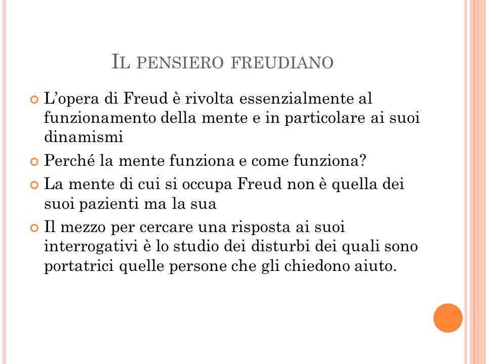 Il pensiero freudiano L'opera di Freud è rivolta essenzialmente al funzionamento della mente e in particolare ai suoi dinamismi.
