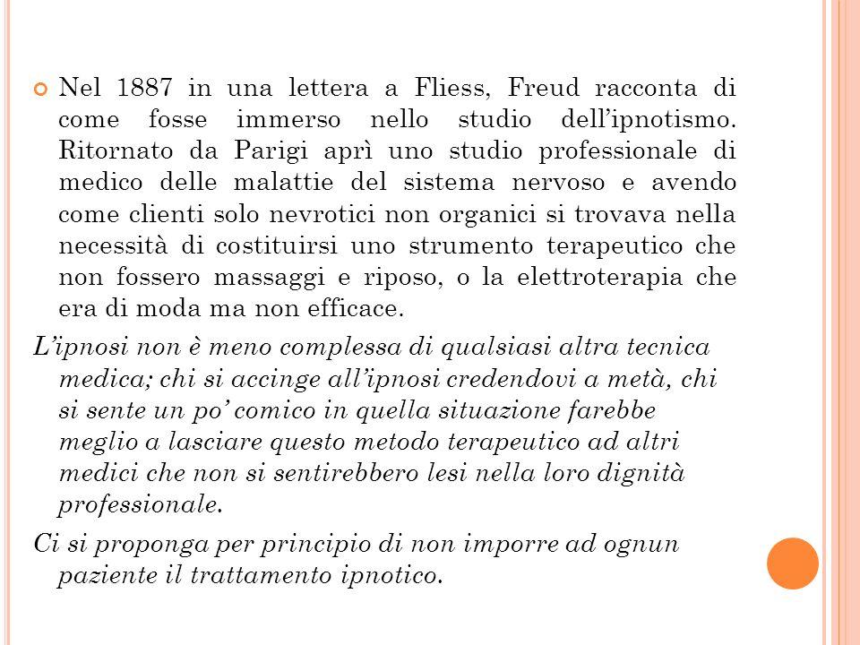 Nel 1887 in una lettera a Fliess, Freud racconta di come fosse immerso nello studio dell'ipnotismo. Ritornato da Parigi aprì uno studio professionale di medico delle malattie del sistema nervoso e avendo come clienti solo nevrotici non organici si trovava nella necessità di costituirsi uno strumento terapeutico che non fossero massaggi e riposo, o la elettroterapia che era di moda ma non efficace.