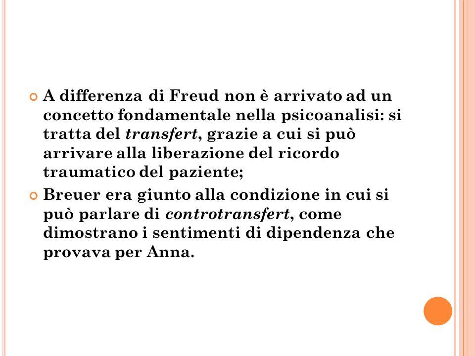 A differenza di Freud non è arrivato ad un concetto fondamentale nella psicoanalisi: si tratta del transfert, grazie a cui si può arrivare alla liberazione del ricordo traumatico del paziente;