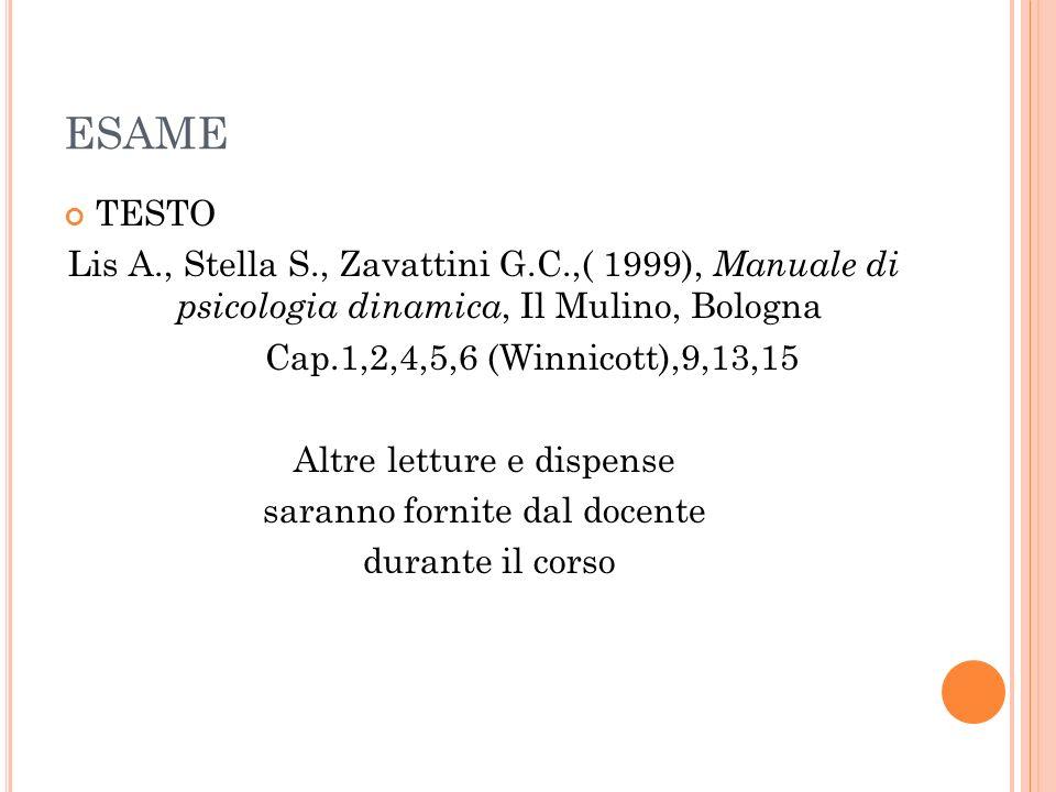 ESAME TESTO. Lis A., Stella S., Zavattini G.C.,( 1999), Manuale di psicologia dinamica, Il Mulino, Bologna.
