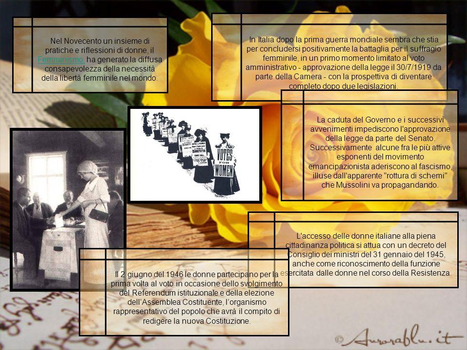 In Italia dopo la prima guerra mondiale sembra che stia per concludersi positivamente la battaglia per il suffragio femminile, in un primo momento limitato al voto amministrativo - approvazione della legge il 30/7/1919 da parte della Camera - con la prospettiva di diventare completo dopo due legislazioni.