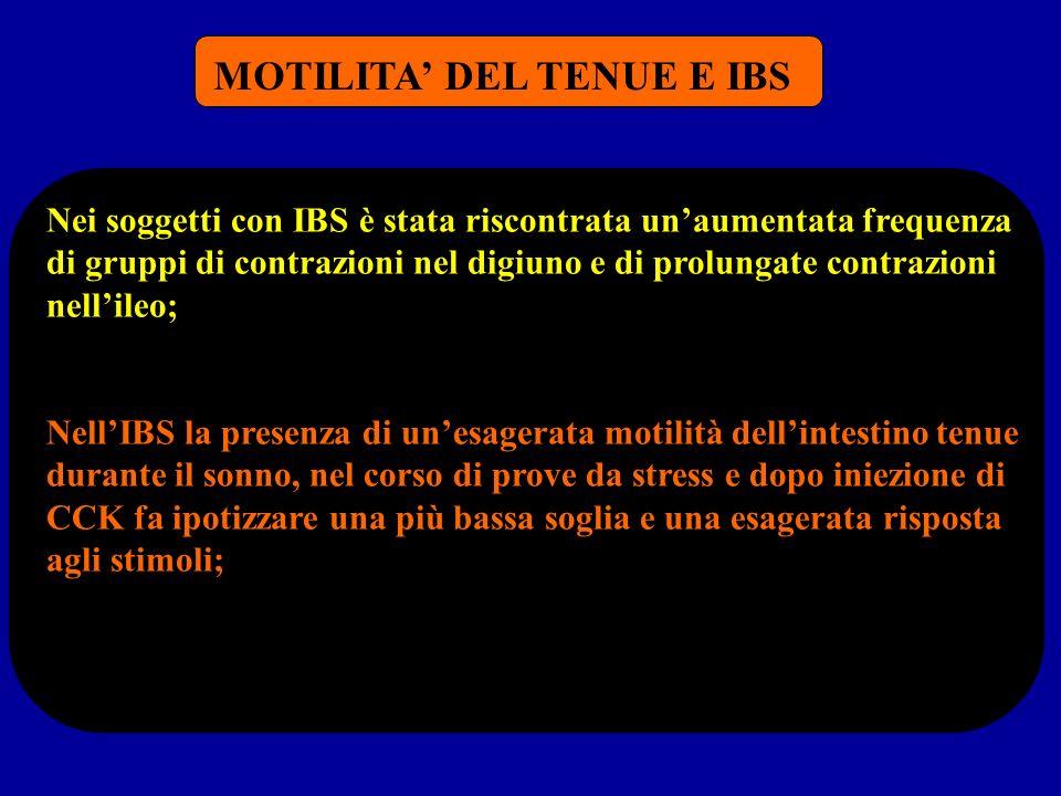 MOTILITA' DEL TENUE E IBS