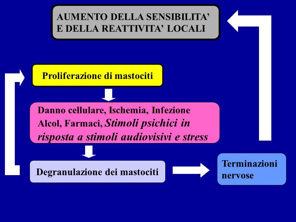 Proliferazione di mastociti Degranulazione dei mastociti