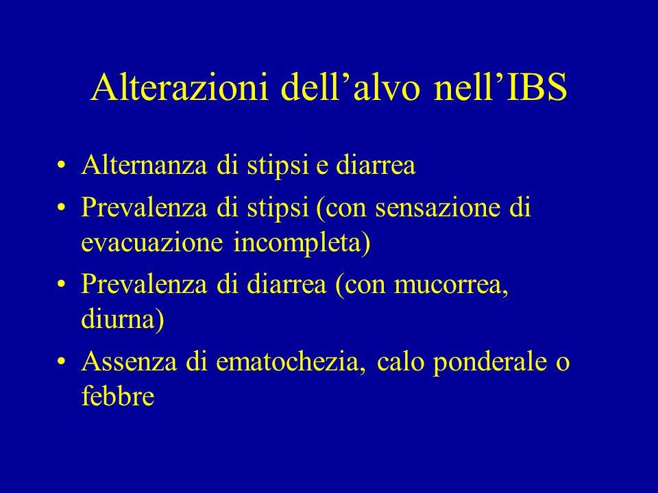 Alterazioni dell'alvo nell'IBS